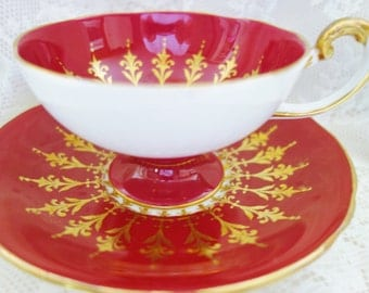 Red Aynsley Teacup, 1940s Aynsley Tea Cup, Collectible Teacup, Burgundy Teacup, no 1
