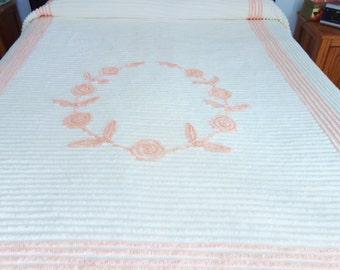 Peach Chenille Bedspread, Plush Chenille, White Chenille Bedspread, White Plush Chenille, CUTTER