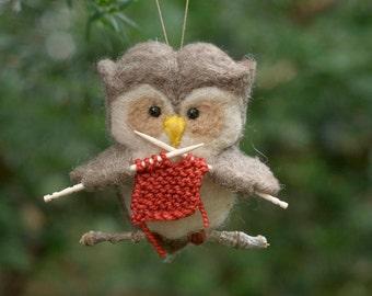 Needle Felted Owl Ornament - Knitting