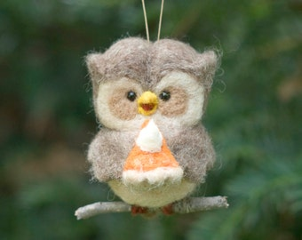 Needle Felted Owl Ornament - Hungry for Pie
