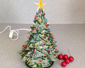 Ceramic Green Christmas Tree 10 1/2 inches tall  with a yellow  Star Ready to ship #DH08032015