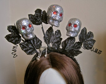 How Does Your Garden Grow: SKULL CROWN Silver Sparkle Black Glitter Halloween Day of the Dead Headband Headpiece Goth Fascinator Tiara