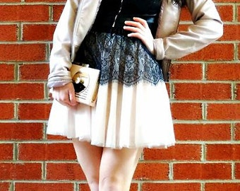 Miss Feme's Scalloped Lace and Chiffon Mini Skirt ~ elasticized waist and full lining
