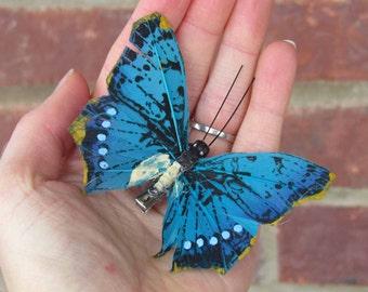 Aqua Blue Butterfly Hair Clip