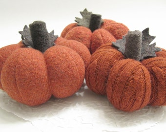 Trio of Fabric Sweater Thanksgiving Pumpkins Handmade from Felted Wool Sweaters (no.715)