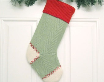 Customized Christmas Stocking Personalized Holiday Decoration Handcrafted from Moss Green Felted Wool Sweater no707