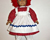 18 Inch Doll Raggedy Ann Costume, Red Doll Wig, Black Shoes.  American Made, Girl Doll Clothes