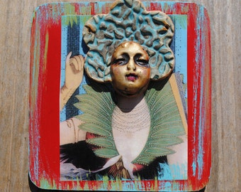 mixed media art collage assemblage original small mask face