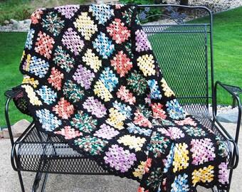 Vintage Afghan Multi Colors Big Bang Granny Style