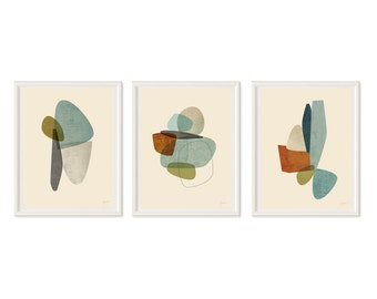 Wall Art Set, Mid Century Modern Art, Contemporary Art, Abstract Art Print, Modern Art Print, Art Print Set of 3