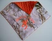 Camo Personalized burp cloth blanket Snow Camo