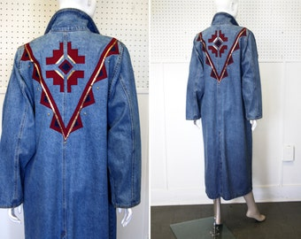 Southwest Style Vintage Denim Coat Men's Size Small or Women's Size Large