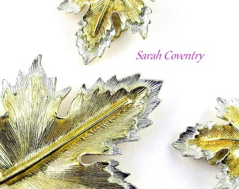 Fall Leaf Brooch Set Earrings Maple Leaf Natures Choice Sarah Coventry