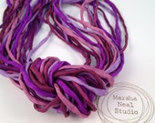Hand Painted 2mm Silk Ribbon Cords in Chloe's Purple Color Palette