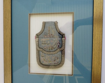 Framed Antique Asian Silk Embroidered Change Purse Money Pouch