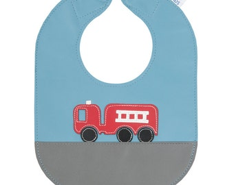 Fire Truck Leather Baby Bib, Easy to Clean and Guaranteed not to Stain - baby or toddler size, can be personalized