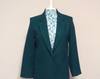vintage green jacket //  career office womens blazer by dumas //  wool jacket