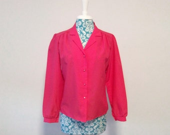 vintage pink blouse // puffed sleeve shirt  // pearl button front 1980s top