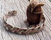 Woven Mixed metal bracelet Brass Copper Silver Viking Celtic Torc
