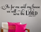 As For Me And My House We Will Serve the Lord Vinyl lettering wall saying quote sticker art