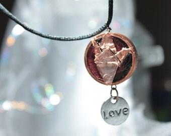 Copper Origami Crane Necklace