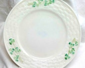 Vintage Belleek Irish Porcelain Side plate - Second Green Mark 1956 to 1965 - Parian - Shamrock and Basketweave - Ireland - 5-1/4 inches