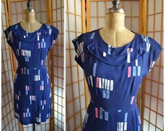 50s atomic print rayon day dress womens size large