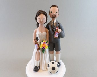 Cake Toppers - Bride & Groom Soccer Fans Custom Wedding Cake Topper