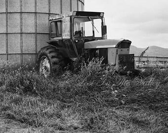 Tractor Photograph, Farm Photography, Rustic Decor, Fine Art Print, Adirondack Photo, Landscape, Monochromatic, Black and White, Grey