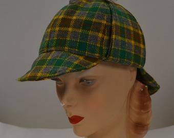 Plaid Deerstalker Hat in Vintage Wool Fabric