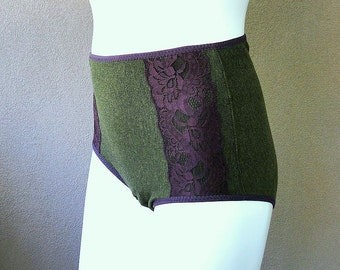 READY TO SHIP, high waist organic panties in forest green french terry, handmade lingerie