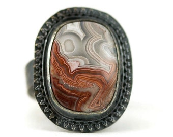 Mexican Crazy Lace Agate Ring - Sterling Crazy Lace Statement Boho Ring