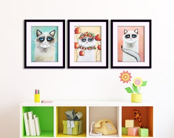 Whimsical Cats Art Prints, Cat Nursery Art, Kids Birthday Gift, Set of 3 Wall Art, Cat Room Decor, Funny Cats