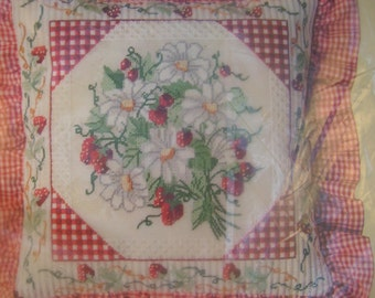Vintage Something Special Strawberry Daisies Red & White Gingham Ruffles Pillow Kit~New in Package