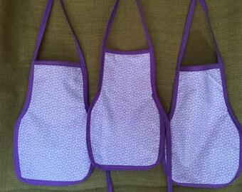 Toddler Apron (Montessori Style,Velcro closure, reversible, purple)