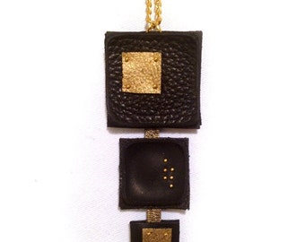 50% OFF SALE Geometric leather pendant Stylish black and gold Necklace Leather jewelry