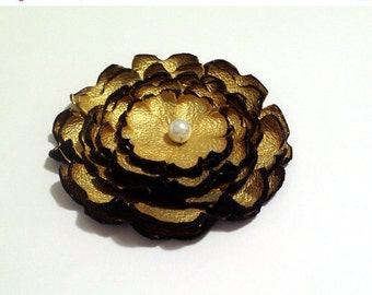 50% OFF SALE Jewelry supplies. Handmade LARGE leather Peony flower for crafts and jewelry making