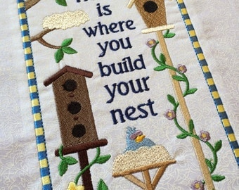Home is where you build your nest - Machine Embroidered quilt block - ready to sew or frame 9 x 12 block