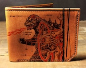 godzilla wallet,  leather wallet, mens wallet, groomsman gift, geekery - 036