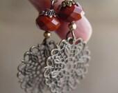 Red Jasper Earrings With Ox. Brass Filigree Dangle