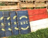Reclaimed wood NC state flags