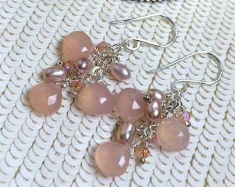 Peach Dangle Earrings Wire Wrap Peach Pink Chalcedony Sterling Silver Jewelry Handmade Dangle Earrings Pearls Crystals