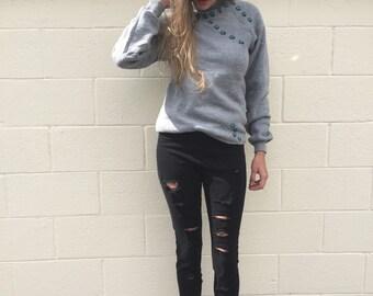 SPRING SALE Vintage grey  lady bug crawling sweatshirt size xs or small med or lrg