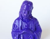 Jesus Statue, Up Cycled Painted Figurine, Religious Art, Pop Room Decor, Purple Statue for Mantel