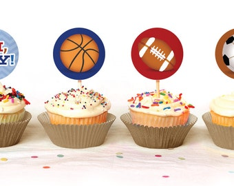 Oh Boy! Little All-Star Cupcake Toppers - INSTANT DOWNLOAD - Print Your Own - BAB14_CT