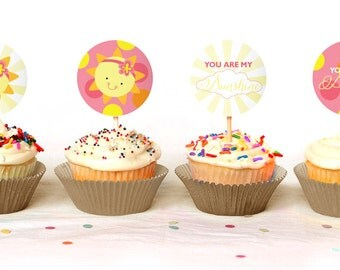 You Are My Sunshine Baby Shower Cupcake Toppers - INSTANT DOWNLOAD - Print Your Own - BAB30_CT