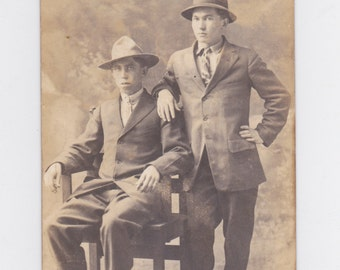 1920-30s  picture post card of two dudes ready for a night on the town