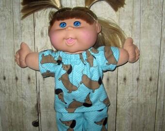 "Cabbage Patch Kids,  Doll Clothes, Aqua Dog Pajamas,  14""  or 15"" Doll Clothes,  Boy Or Girl Doll Clothes, Adoptimals"