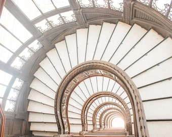 Chicago Photography, Rookery Building, Frank Lloyd Wright, Staircase, Stairs, Architecture,Gold, Chicago Art, Chicago Home Decor