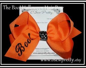 Halloween Hair Bows, embroidered BOO hair bow, Orange and black hair bows, Hair Bows for fall, Monogrammed Boo hair bow, Monogrammed Bows